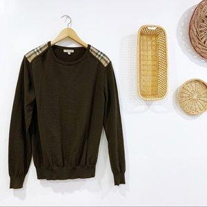 Burberry Check Shoulder Merino Wool Sweater